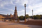 Plaza de Espana in Sevilla at sunset — Stock Photo