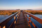 Drewniany most przez kanał — Zdjęcie stockowe