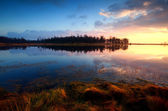 Sunset on wild lake in Dwingelderveld — Stock Photo