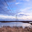 High-voltage electric line over swamp — Stock Photo