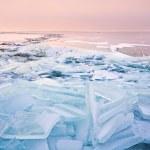 Broken shelf ice pieces at sunset on North sea — Stock Photo #23308766