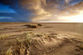 Sand beach and dramatic sky — Stock Photo