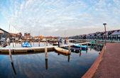Yachts and boats at marina in morning — Stock Photo