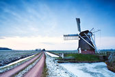 Dutch windmill in dusk — ストック写真