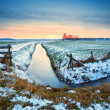 Dramatic sunset over frozen river — Stock Photo #23320098