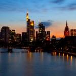 Frankfurt am Main cityscape at sunset — Stock Photo