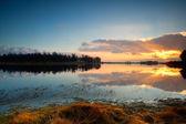Calm sunset over lake in Dwingelderveld — Stock Photo