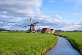 Charming dutch windmill on green grasslands — Stock Photo