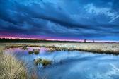 日没時の沼めぐり嵐 — ストック写真