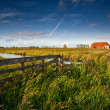 Stock Photo: Fence and farmhouse in Dutch farmland