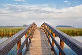 Wooden bridge through river — Stock Photo