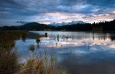 Clouded sunrise over Geroldsee in Bavarian Alps — Stock Photo