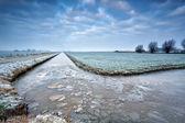 Broken ice on frozen river in Dutch farmland — Stock Photo