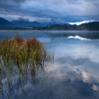 Clouded morning on Barmsee lake in Alps — Stock Photo