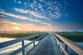 Wooden bridge through the river at sunrise — Stock Photo