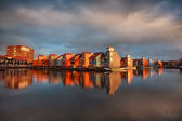 Beautiful colorful buildings on water in Groningen — Stock fotografie