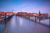 View on sunset over Bremen city from bridge — Stock fotografie