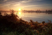 Sunrise over wild lake — Foto Stock