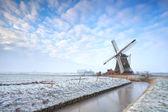 Holländische windmühle im winter — Stockfoto