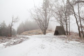 Wooden hut in Harz mountains during foggy winter day — Stock Photo