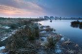 Winter sunrise over river — Stock Photo