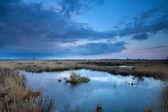 Ciel coucher de soleil sur les marais en été — Photo