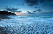 Atlantic ocean coast in dusk — Stock Photo