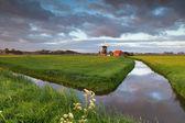 日出上空河边的风车 — 图库照片