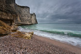 Gloomy weather on rocky coast — Stock Photo