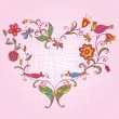 Heart with birds and flowers - Stock Vector