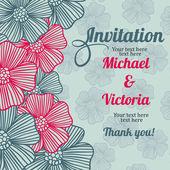 用鲜花和无缝模式邀请卡 — 图库矢量图片