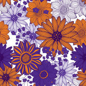 Orange purple seamless floral pattern — Stock Vector