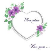 Cuore di rose con spazio per il testo — Vettoriale Stock