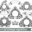 Stock Vector: Set of vintage emblem with crowns and ribbons.