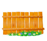 Wooden fence with grass — Stock Vector