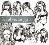 Set of vector girls. — Stock Vector