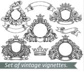 Set of vintage emblem with crowns and ribbons. — Stock Vector