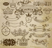 Set of vintage elements: ribbons, crowns and vignettes. — Stock Vector