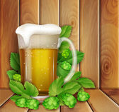Beer and hop on a wooden background — Stock Vector