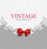 Vintage background with red bow — Stock Vector