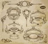 Set of vintage elements: ribbons, and emblem — Stock Vector