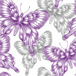 Seamless pattern with decorative purple butterflies — Stock Vector #37234057