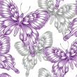 Seamless pattern with decorative purple butterflies — Stock Vector