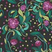 Pattern with the drawn peony — Vecteur