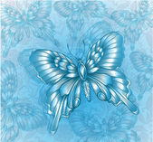 Bright Blue butterfly and decorative grungy background — Stockvektor