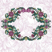 Vintage floral frame and decorative seamless floral pattern — 图库矢量图片