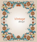 Vintage frame with decorative flowers — Stock Vector