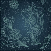 Seamless blue pattern with decorative flowers — Stock Vector
