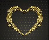 Gold heart rnamental — Stock Vector