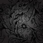 无缝单色花卉图案 — 图库矢量图片